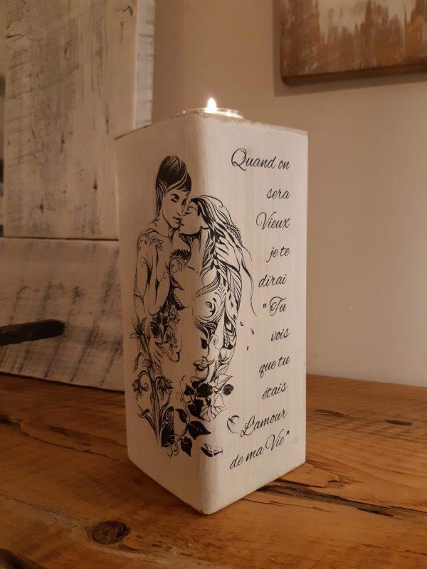 Bougeoir Amour de ma vie 4x9 bois recyclé 34,95$ 3 dispo