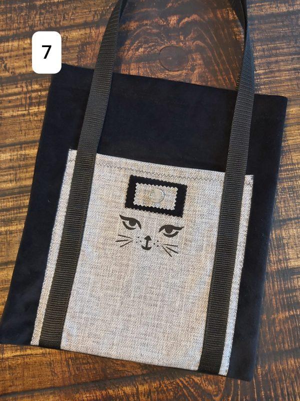 Tote bag noir et gris chat 24,95$ Shipping 4,95$