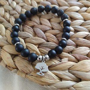 bracelet Fait à la main pierres naturelles onyx pierres de lave 8 mm acier inoxydable diffuseurs huiles essentielles acier inoxydable hypoallergénique résistant à l'eau bracelet