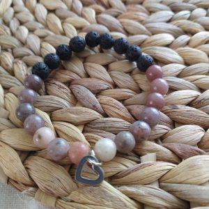 bracelet Fait à la main pierres naturelles de lave Aventurine Jaspe Plum Blossom 8mm acier inoxydable hypoallergénique résistant à l'eau diffuseurs huiles essentielles hypoallergénique résistant à l'eau