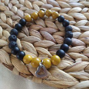 bracelet Fait à la main pierres naturelles de lave onyx Mokaite 8mm acier inoxydable hypoallergénique résistant à l'eau diffuseurs huiles essentielles