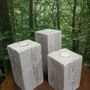 Bougeoirs en bois massif ens de 3, 3 ens dispo, 34,95$ 6'', 7'', 8''