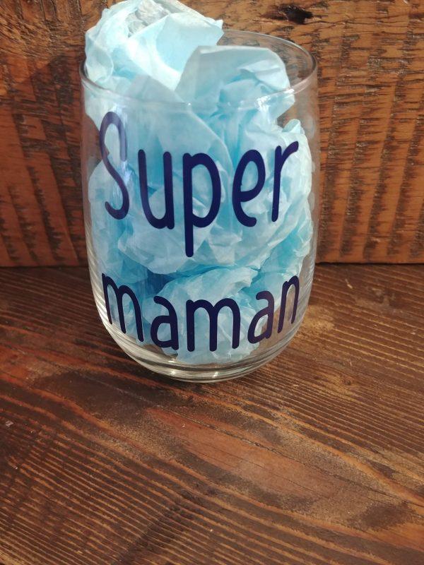 Verre de vin avec citation - Super Maman